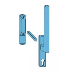 Klamka Siegenia HS z otworem na wkładkę + uchwyt srebrna F9